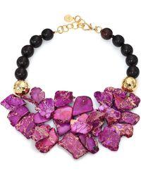 Nest - Purple Jasper & Ebony Wood Beaded Bib Necklace - Lyst