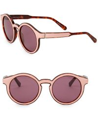 8df85771cb8 Lyst - Chloé Nerine Leather-Wrapped Sunglasses in Metallic