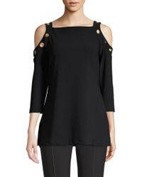 Donna Karan - Grommet Detail Cold-shoulder Blouse - Lyst