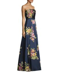 Basix Black Label - Strapless Floral-painted Gown - Lyst