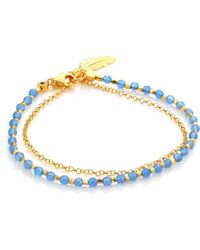 Astley Clarke - Biography Blue Agate & White Sapphire Feather Bracelet - Lyst