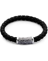 David Yurman - Braided Rubber & Sterling Silver Bracelet - Lyst