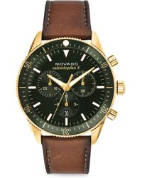 Movado - Heritage Leather Strap Chronograph Watch - Lyst