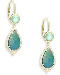 Meira T - Diamond, Turquoise, Opal & 14k Yellow Gold Drop Earrings - Lyst