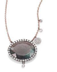 Meira T | Labradorite, Diamond & 14k Rose Gold Pendant Necklace | Lyst