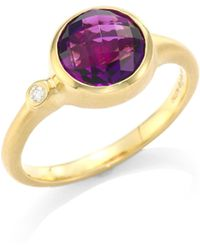 Carelle - Amethyst & Diamond 18k Yellow Gold Stack Ring - Lyst