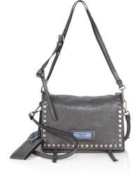 Prada - Pattina Studded Leather Shoulder Bag - Lyst