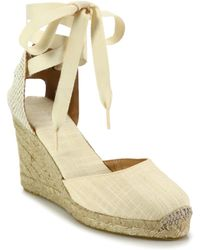 Soludos - Canvas Ankle-wrap Wedge Espadrilles - Lyst