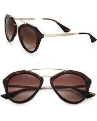 Prada - 54mm Mirrored Aviator Sunglasses - Lyst