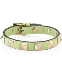 Valentino - Rockstud Leather Bracelet - Mint - Lyst