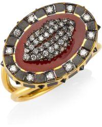 Holly Dyment - Diamonds & 18k Yellow Gold Glam Lip Ring - Lyst