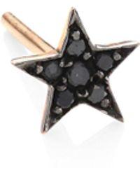 Kismet by Milka - Heroine Star Black Diamond & 14k Rose Gold Single Stud Earring - Lyst