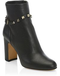 Valentino - Rockstud Pebbled Leather Ankle Booties - Lyst