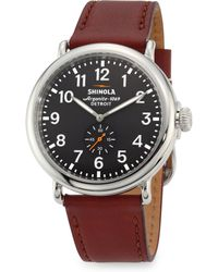 Shinola - Runwell Chronograph Stainless Steel Leather Strap Watch - Lyst
