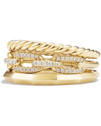 David Yurman - Stax Narrow Ring With Diamonds In 18k Yellow Gold - Lyst