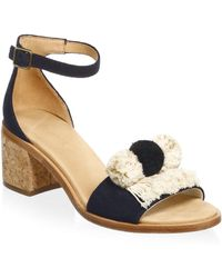 Soludos - Pom-poms Block Heel Sandals - Lyst