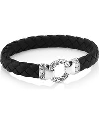John Hardy - Chain Classic Ring Clasp Sterling Silver & Leather Bracelet - Lyst