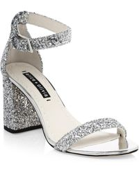 Alice + Olivia - Lillian Glitter Leather Ankle-strap Heels - Lyst