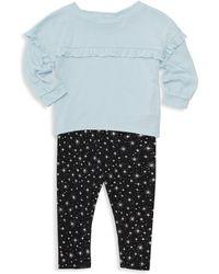 Splendid Baby Girl's 2-piece Ruffled Top & Star-print Leggings Set - Ballad Blue