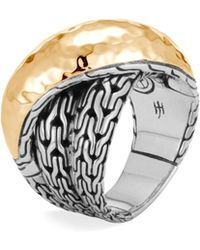 John Hardy - Chain 18k Gold & Silver Crossover Ring - Lyst