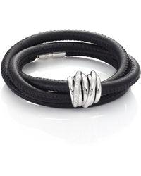 De Grisogono - Allegra Diamond, 18k White Gold & Leather Wrap Bracelet/black - Lyst