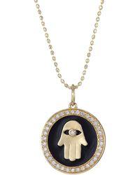 Sydney Evan - Diamond, 14k Yellow Gold & Black Enamel Hamsa Charm Necklace - Lyst