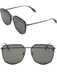 Alexander McQueen - 61mm Black Geometric Sunglasses - Lyst