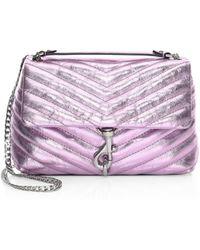 Rebecca Minkoff - Edie Metallic Leather Flap Crossbody Bag - Lyst