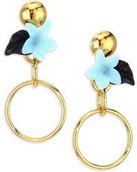 Lele Sadoughi - Rio Hibiscus Drop Hoop Earrings - Lyst
