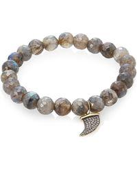 Sydney Evan - Labradorite, Brown Diamond & Two-tone Gold Rondelle Horn Bracelet - Lyst