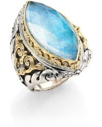 Konstantino - Chrysocolla, Clear Quartz, Sterling Silver & 18k Yellow Gold Marquise Ring - Lyst