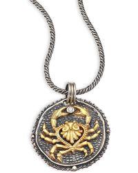 Konstantino | Zodiac Diamond, 18k Yellow Gold & Sterling Silver Cancer Pendant | Lyst