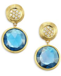 Marco Bicego - Jaipur London Diamond & Blue Topaz Drop Earrings - Lyst