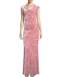 St. John - Floral Velvet Drape Neck Gown - Lyst
