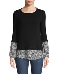 Bailey 44 - Mixed Media Twofer Shirt Sweater - Lyst