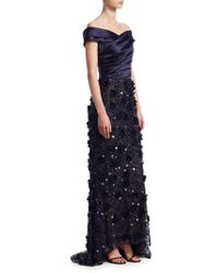 David Meister - Sequined Off-the-shoulder Gown - Lyst