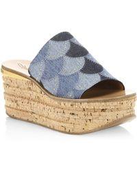 Chloé - Camille Denim Platform Sandals - Lyst