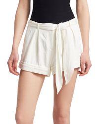 Halston - Chalk Tie Waist Shorts - Lyst