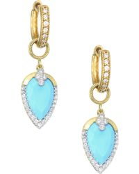 Jude Frances - Diamond Pave, Turquoise & 18k Yellow Gold Earring Charms - Lyst