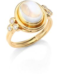Temple St. Clair - Classic Oval Diamond, Royal Blue Moonstone & 18k Yellow Gold Ring - Lyst