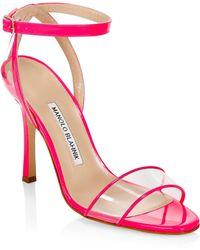5fd3b45a3d28 Lyst - Manolo Blahnik Lauratomod Leopard-Print Ankle-Strap Sandals ...