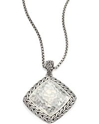 John Hardy - Classic Chain Hammered Silver Heritage Large Quadrangle Pendant Necklace - Lyst