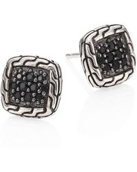 John Hardy - Classic Chain Sterling Silver & Black Sapphire Lava Stud Earrings - Lyst
