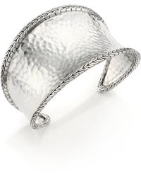 John Hardy | Classic Chain Hammered Sterling Silver Cuff Bracelet | Lyst