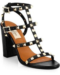 Valentino - Rockstud Leather T-strap Block Heel Sandals - Lyst
