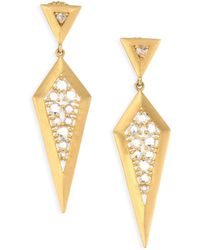 Bavna - 18k Gold & Diamond Drop Earrings - Lyst