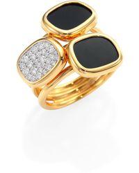 Roberto Coin - Black Jade And Diamond Three Stone Ring - Lyst
