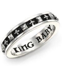 King Baby Studio - Sterling Silver Cross & Stud Stackable Band Ring - Lyst