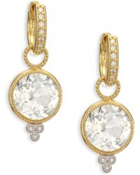 Jude Frances | Provence White Topaz, Diamond & 18k Yellow Gold Round Earring Charms | Lyst