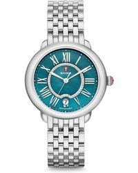 Michele Watches - Serein Diamond, Mother-of-pearl & Teal Watch - Lyst